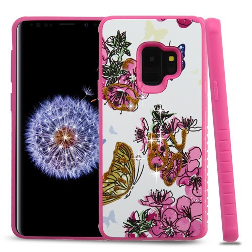 Airium Diamante Hybrid Protector Cover for Samsung Galaxy S9 - Butterfly & Flowers / Hot Pink