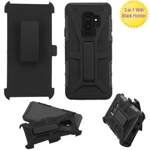 Airium Advanced Armor Stand Protector Cover Combo (with Black Holster) for Samsung Galaxy S9 Plus - Black / Black