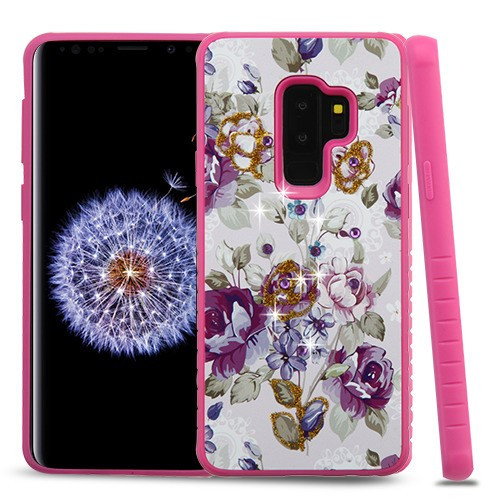Airium Diamante Hybrid Protector Cover for Samsung Galaxy S9 Plus - Violet / Hot Pink
