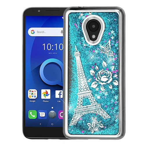 Airium Quicksand Glitter Hybrid Protector Cover for Alcatel 1X Evolve - Silver Electroplating / Eiffel Tower / Blue