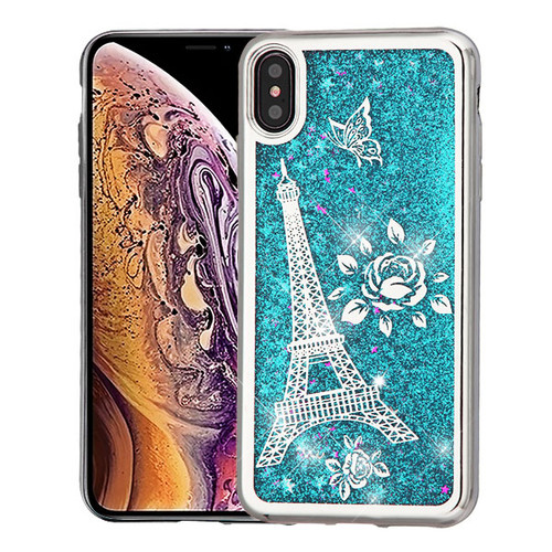Airium Quicksand Glitter Hybrid Protector Cover for Apple iPhone XS Max - Silver Electroplating / Eiffel Tower / Blue