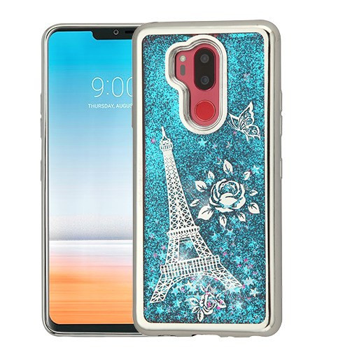 Airium Quicksand Glitter Hybrid Protector Cover for Lg G710 (G7 Thinq) - Silver Electroplating / Eiffel Tower / Blue