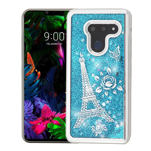 Airium Quicksand Glitter Hybrid Protector Cover for Lg G8 ThinQ - Silver Electroplating / Eiffel Tower / Blue