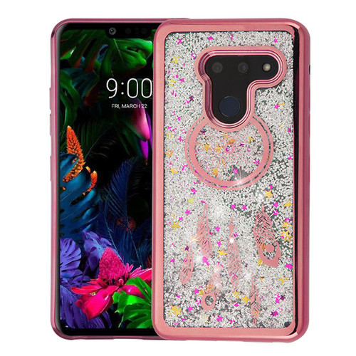 Airium Quicksand Glitter Hybrid Protector Cover for Lg G8 ThinQ - Rose Gold Electroplating / Dreamcatcher / Silver Confetti