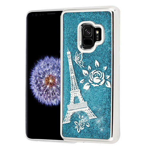 Airium Quicksand Glitter Hybrid Protector Cover for Samsung Galaxy S9 - Silver Electroplating / Eiffel Tower / Blue