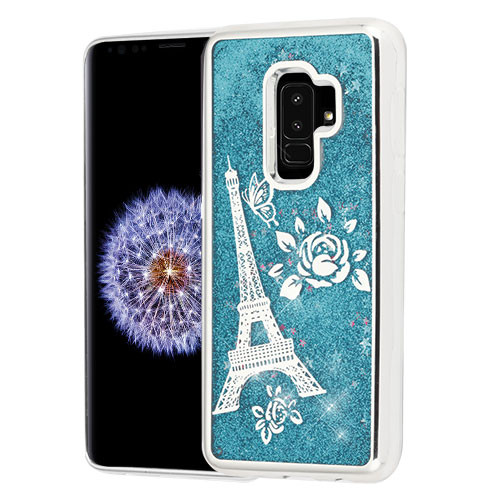 Airium Quicksand Glitter Hybrid Protector Cover for Samsung Galaxy S9 Plus - Silver Electroplating / Eiffel Tower / Blue