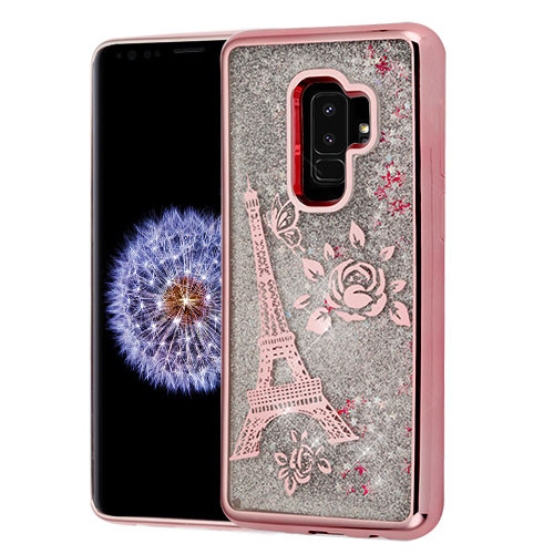 Airium Quicksand Glitter Hybrid Protector Cover for Samsung Galaxy S9 Plus - Rose Gold Electroplating / Eiffel Tower / Silver