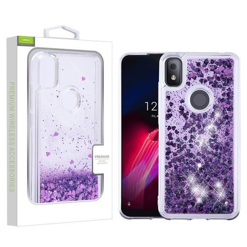 Airium Quicksand Glitter Hybrid Protector Cover for T-mobile REVVL 4 - Hearts & Purple