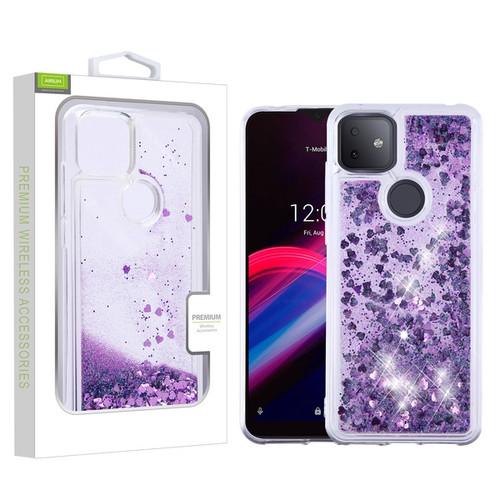 Airium Quicksand Glitter Hybrid Protector Cover for T-mobile Revvl 4+ - Hearts & Purple