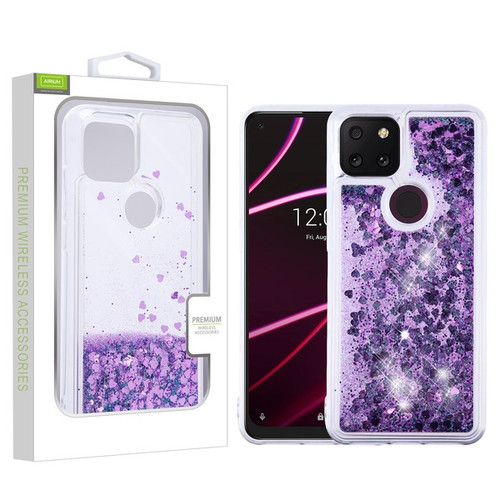 Airium Quicksand Glitter Hybrid Protector Cover for T-mobile Revvl 5G - Hearts & Purple