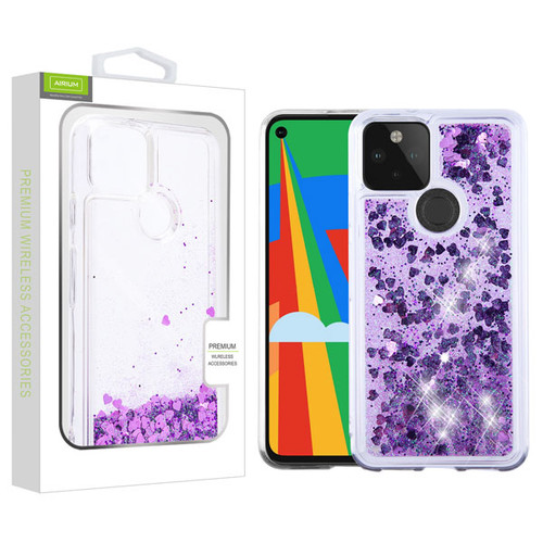 Airium Quicksand Glitter Hybrid Protector Cover for Google Pixel 5 - Hearts & Purple