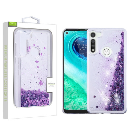 Airium Quicksand Glitter Hybrid Protector Cover for Motorola Moto G Fast - Hearts & Purple
