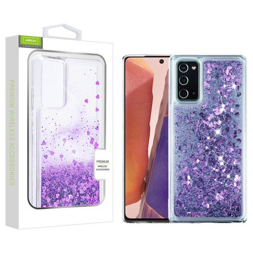 Airium Quicksand Glitter Hybrid Protector Cover for Samsung Galaxy Note 20 - Hearts & Purple