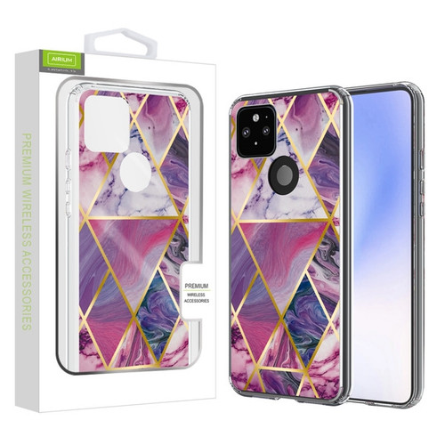Airium Fusion Protector Case for Google Pixel 4a 5G - Electroplated Purple Marbling