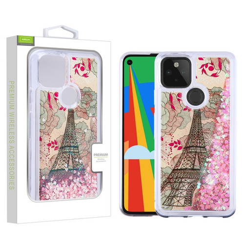 Airium Quicksand Glitter Hybrid Protector Cover for Google Pixel 5 - Eiffel Tower & Pink Hearts