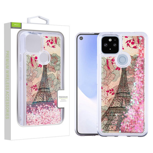 Airium Quicksand Glitter Hybrid Protector Cover for Google Pixel 4a 5G - Eiffel Tower & Pink Hearts