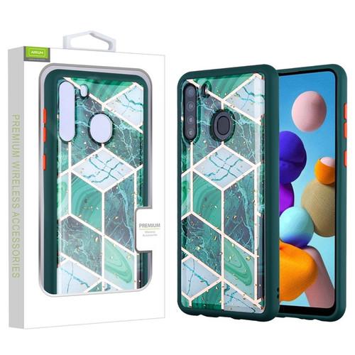 Airium Hybrid Case for Samsung Galaxy A21 - Green Marbling / Green