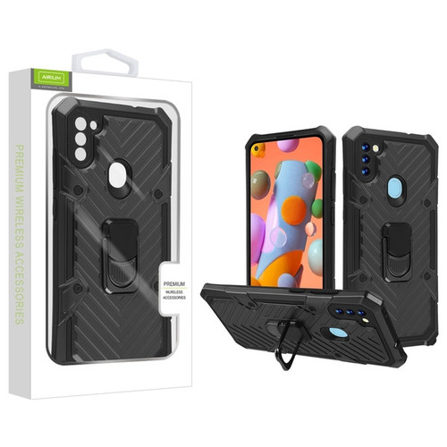 Airium Hybrid Case (with Ring Stand) for Samsung Galaxy A11 - Black / Black