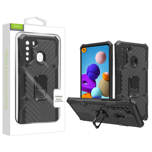 Airium Hybrid Case (with Ring Stand) for Samsung Galaxy A21 - Black / Black