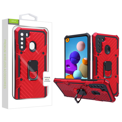 Airium Hybrid Case (with Ring Stand) for Samsung Galaxy A21 - Red / Black