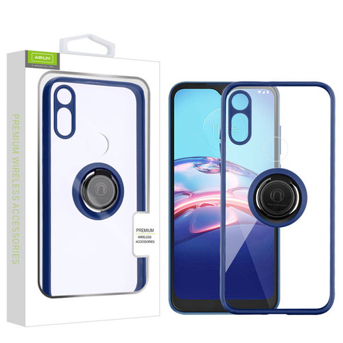 Airium Hybrid Case (with Ring Stand) for Motorola Moto E (2020) - Transparent Clear / Blue