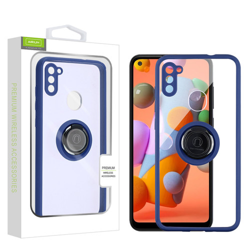 Airium Hybrid Case (with Ring Stand) for Samsung Galaxy A11 - Transparent Clear / Blue