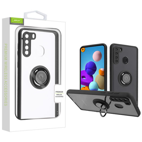 Airium Hybrid Case (with Ring Stand) for Samsung Galaxy A21 - Transparent Clear / Black