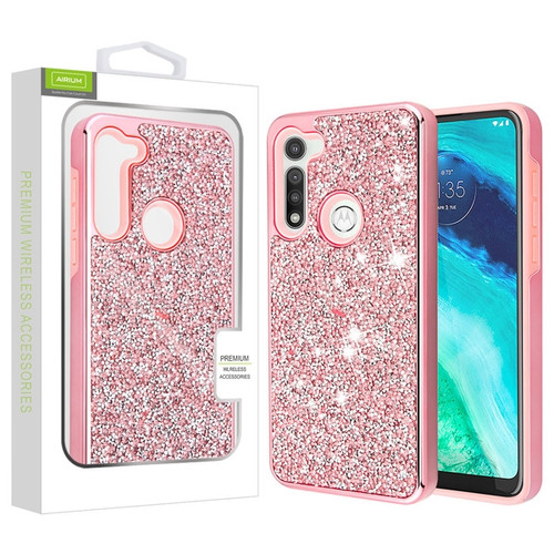 Airium Encrusted Rhinestones Hybrid Case for Motorola Moto G Fast - Electroplated Pink / Pink