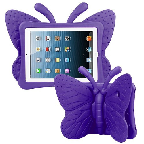 Airium Butterfly Kids Drop-resistant Protector Cover for Apple iPad Air (A1474,A1475,A1476) - Purple