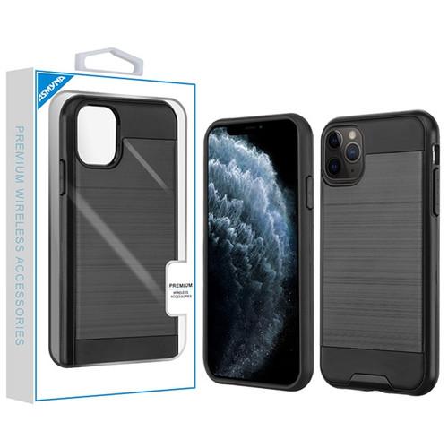Asmyna Brushed Hybrid Protector Cover for Apple iPhone 11 Pro - Black / Black