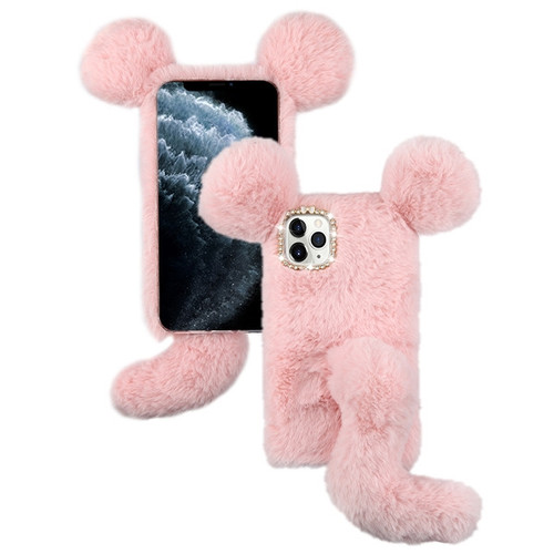 Asmyna Plush Cartoon Squirrel Protector Cover for Apple iPhone 11 Pro - Pink Cute