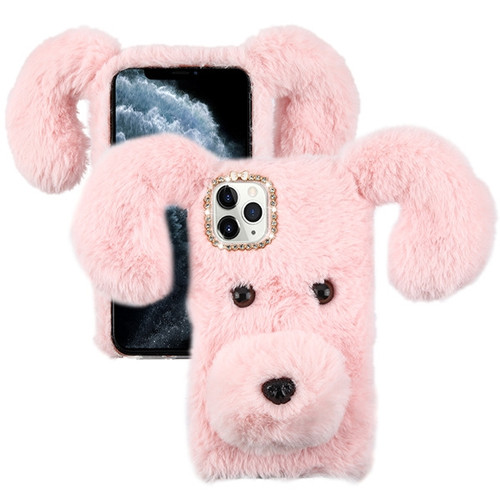 Asmyna Plush Cartoon Dog Protector Cover for Apple iPhone 11 Pro - Pink Cute