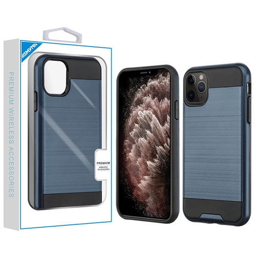 Asmyna Brushed Hybrid Protector Cover for Apple iPhone 11 Pro Max - Ink Blue / Black