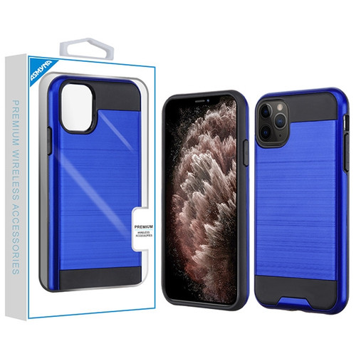 Asmyna Brushed Hybrid Protector Cover for Apple iPhone 11 Pro Max - Dark Blue / Black
