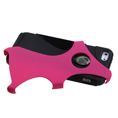 Asmyna Rubberized Cragsman Mixy Protector Cover for Apple iPhone 5s/5 - Hot Pink / Black