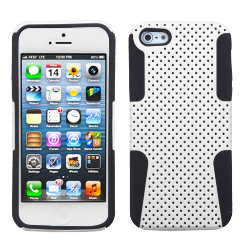Asmyna Astronoot Protector Cover for Apple iPhone 5s/5 - White / Black