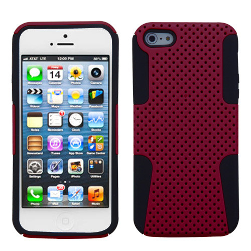 Asmyna Astronoot Protector Cover for Apple iPhone 5s/5 - Red / Black