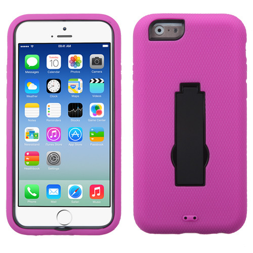Asmyna Symbiosis Stand Protector Cover for Apple iPhone 6s/6 - Black / Hot Pink