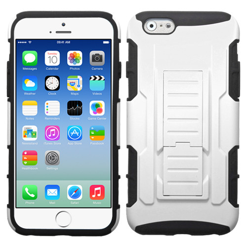 Asmyna Car Armor Stand Protector Cover (Rubberized) for Apple iPhone 6s/6 - White / Black