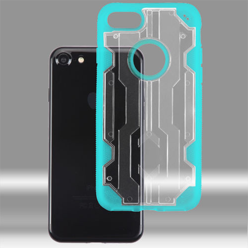 Asmyna Hybrid Protector Cover for Apple iPhone 8/7 - Transparent Clear / Transparent Light Blue Chali