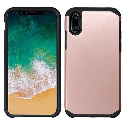 Asmyna Astronoot Protector Cover for Apple iPhone XS/X - Rose Gold / Black