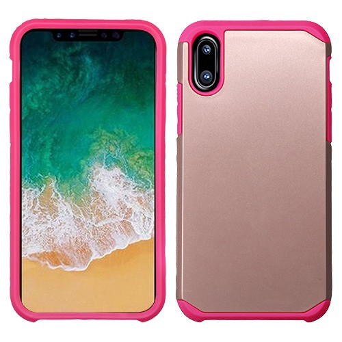Asmyna Astronoot Protector Cover for Apple iPhone XS/X - Rose Gold / Hot Pink