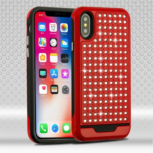 Asmyna Diamante FullStar Protector Cover for Apple iPhone XS/X - Red / Black