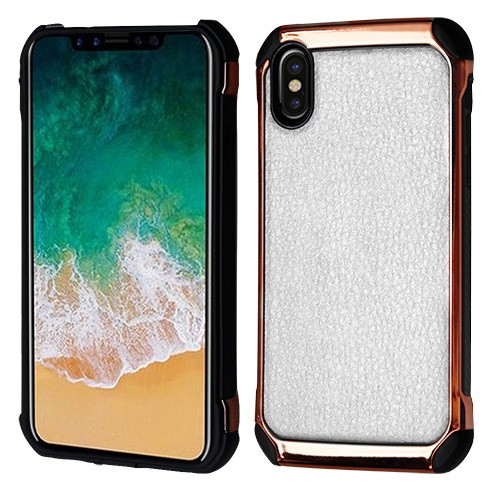 Asmyna Astronoot Protector Cover for Apple iPhone XS/X - White Lychee Grain(Rose Gold Plating) / Black