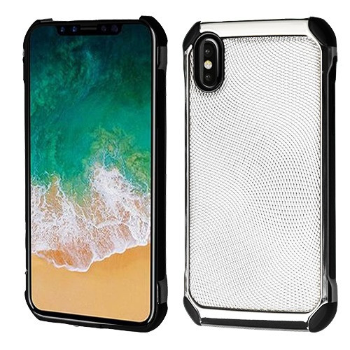 Asmyna Astronoot Protector Cover for Apple iPhone XS/X - Silver Dots(Silver Plating) / Black