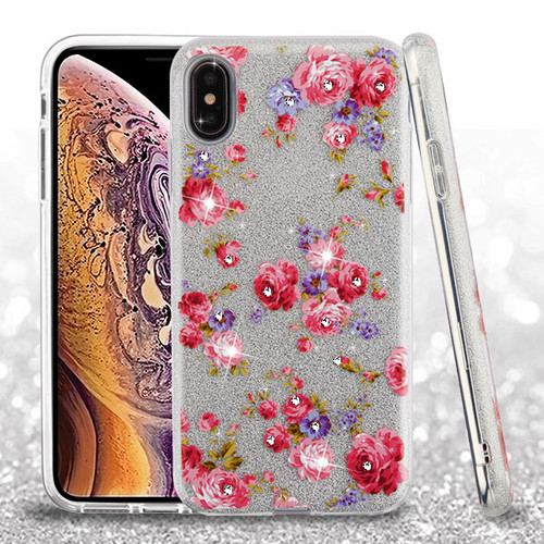 Asmyna Full Glitter Hybrid Protector Cover for Apple iPhone XS Max - Vintage Rose Bush