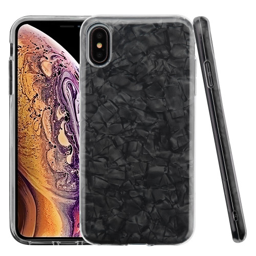 Asmyna Hybrid Protector Cover for Apple iPhone XS Max - Black Jade Texture Full