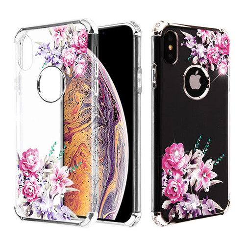Asmyna Diamante Klarion Candy Skin Cover for Apple iPhone XS Max - Electroplating Silver / Romantic Love Flowers