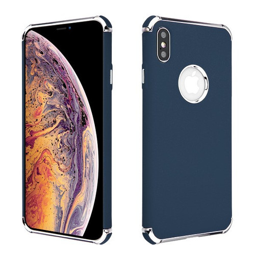 Asmyna Frosted Klarion Candy Skin Cover for Apple iPhone XS Max - Electroplating Silver / Ink Blue