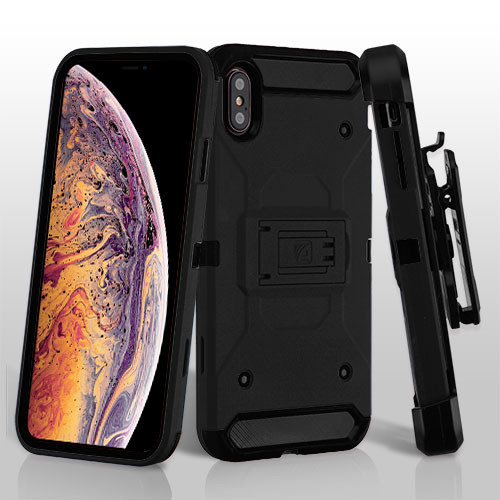 Asmyna Kinetic Hybrid Protector Cover Combo (with Black Holster) for Apple iPhone XS Max - Black / Black